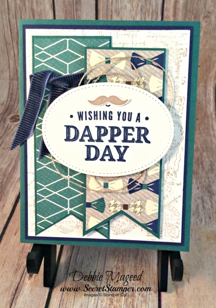 By Debbie Mageed, Masculine Birthday Card featuring Truly Tailored Stamp Set, #trulytailored, #PostScript, #TrueGentlemenDSP, #SecretStamper, #Stamparatus, #StampinUp