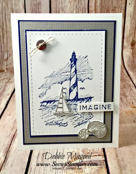 Masculine Nautical Card featuring #CoastToCoast, #BeautifulBeach, #Nautical, #Lighthouses, #SecretsToStamping, #StampinUp