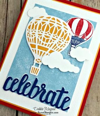 Uplifting Summer Card Featuring #LiftMeUp, #Up&WayThinlits, #CelebrateYou, #Birthday, #HotAirBalloon, #SecretsToStamping, #StampinUp