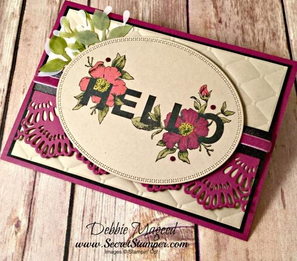 Elegant Floral Card Featuring #FloralStatements, #AllOccasions, #DelicateLaceEdgelits, #SecretsToStamping, #StampinUp