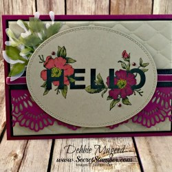 Elegant Floral Card Featuring #FloralStatements, #AllOccasions, #DelicateLaceEdgelits, #SecretsToStamping, #StampinUp