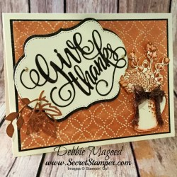 Monochromatic Thanksgiving Card Featuring #CountryHome, #StitchedSeasons, #QuiltTop, #GinaMarieDesigns, #Thanksgiving, #SecretsToStamping, #StampinUp