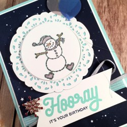 Fun Winter Birthday Card Featuring Spirited Snowmen and Broadway Birthday, #Birthday #SecretsToStamping #StampinUp