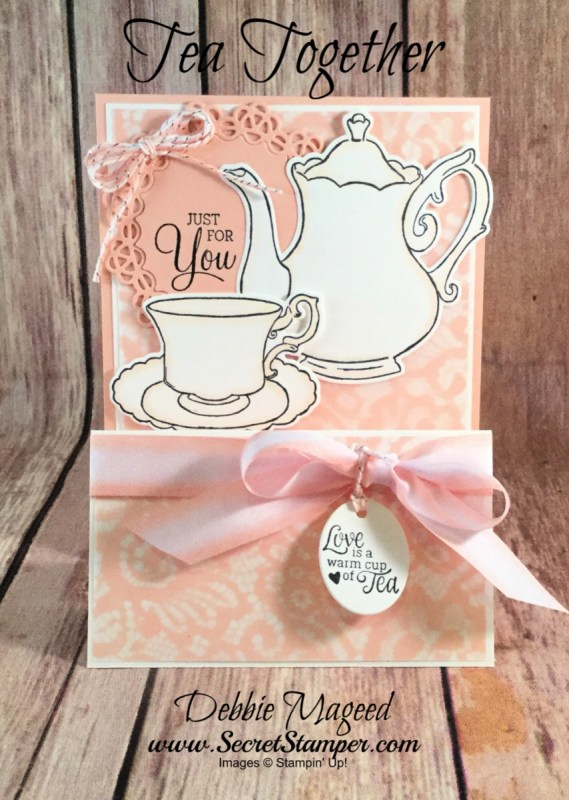 Feminine and Frilly Card Featuring Tea Together, Dear Doily, #DoubleEasel, #MothersDay, #AllOccasion, #DebbieMageed, #SecretsToStamping, #StampinUp