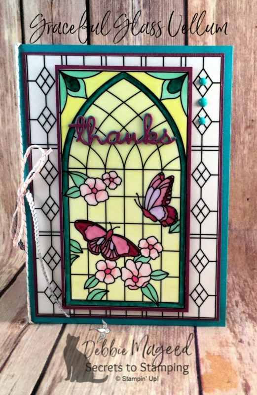 Beautiful Stained Glass Card using Graceful Glass Vellum from Stampin' Up!