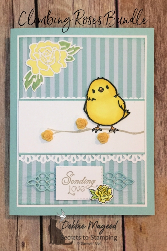 Cute Springtime Card Featuring Climbing Roses and Honeycomb Happiness Stamp Sets by Stampin' Up!