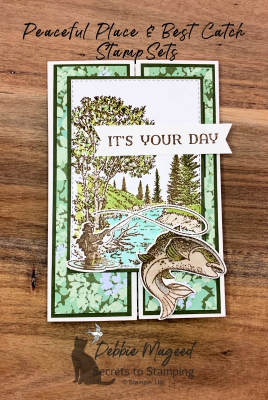 Great Masculine Card Using Peaceful Place and Best Catch by Stampin' Up!