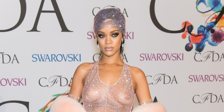 NEW YORK, NY - JUNE 02: (EDITORS NOTE: Image contains partial nudity.) Recipient of the 2014 CFDA Fashion Icon Award, Rihanna attends the 2014 CFDA fashion awards at Alice Tully Hall, Lincoln Center on June 2, 2014 in New York City. (Photo by Gilbert Carrasquillo/FilmMagic)