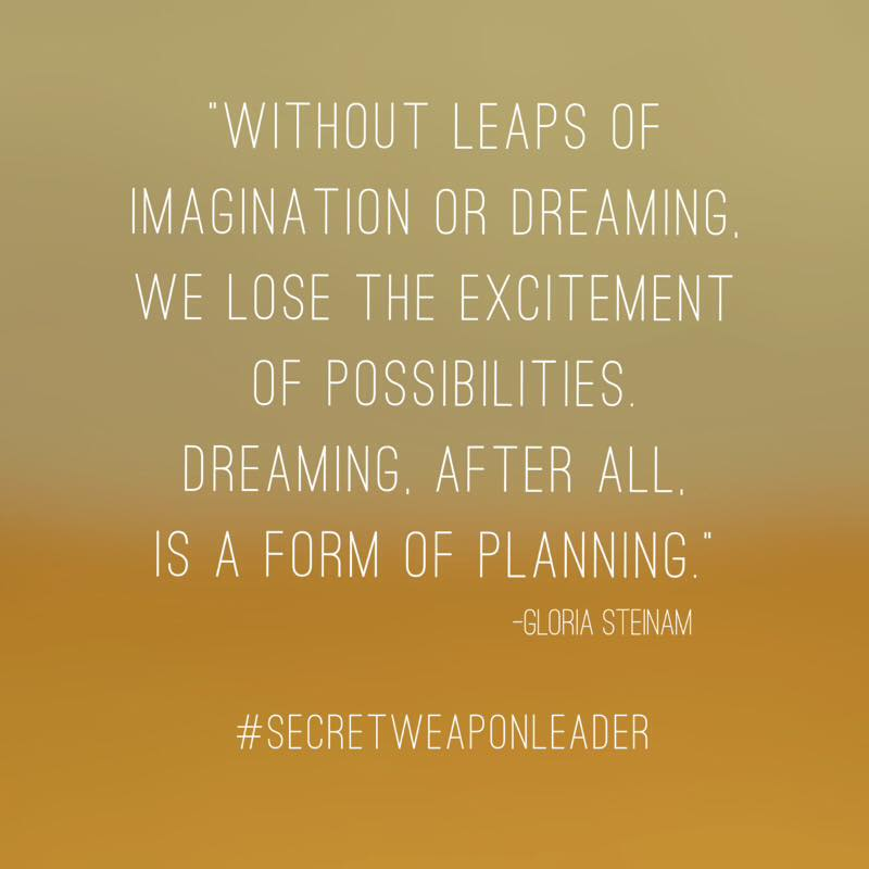 Without leaps of imagination or dreaming we loose the excitement of possibilities