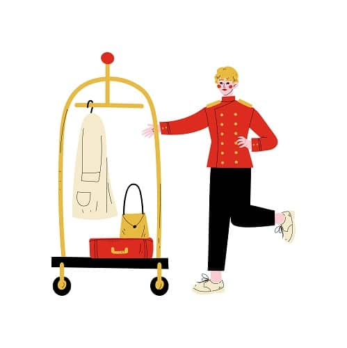 Male Bellhop with Luggage Cart, Hotel Staff Character in Red Uniform Vector Illustration on White Background.