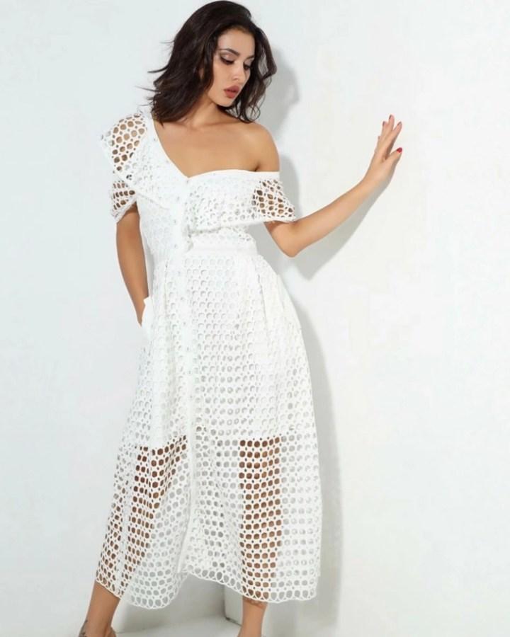 e2def3a360 Cameron Sukienka Biała Asymetryczna Krótkim Rękawem