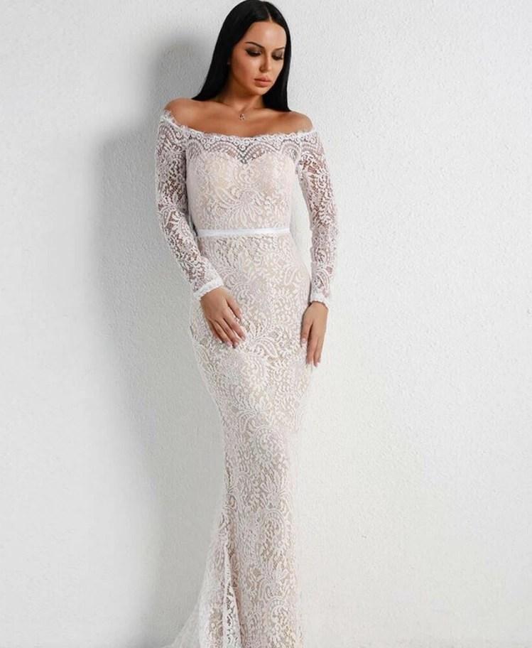 fb7d241472 Strona główna   Sukienki   Glam   Saviana Sukienka Hiszpanka Biała Maxi z  Koronki