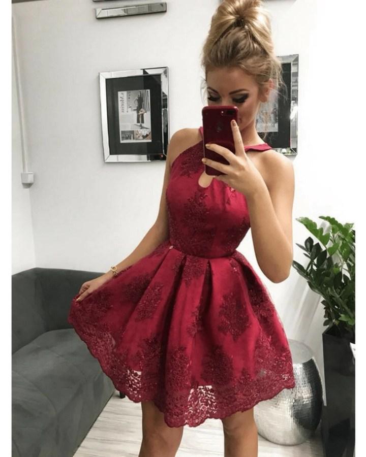 b8b3e17de7 Ulani Sukienka Koronkowa Rozkloszowana Bordowa