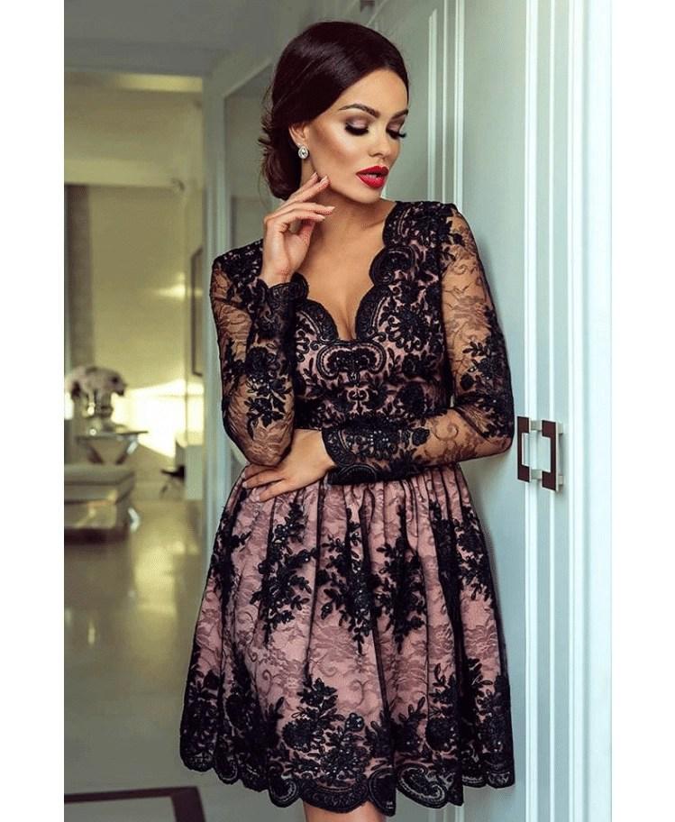 8cc8f049c7 Avril Sukienka Rozkloszowana Czarna Beż z Koronki - Secret Wish Boutique
