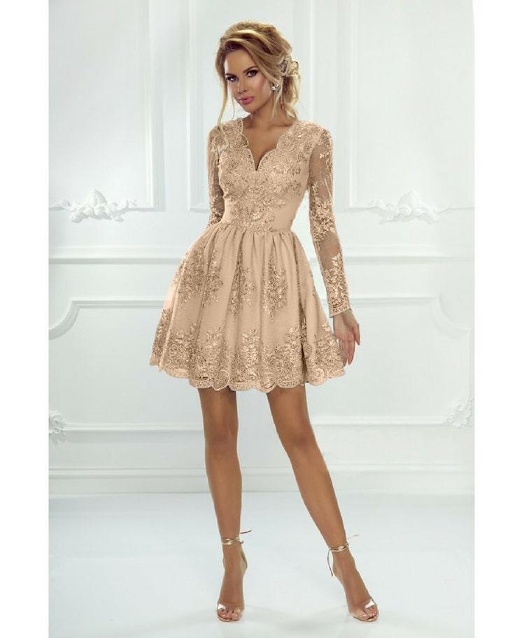 b8b91a451a Meave Sukienka Rozkloszowana Złoty Karmel z Koronki - Secret Wish ...