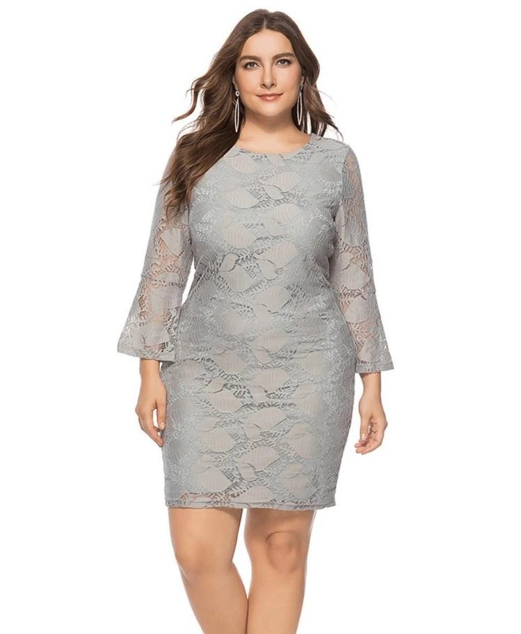 8e09103903 Strona główna   Sukienki   Mini   Laurisa Sukienka Koronkowa Szara Mini Plus  Size