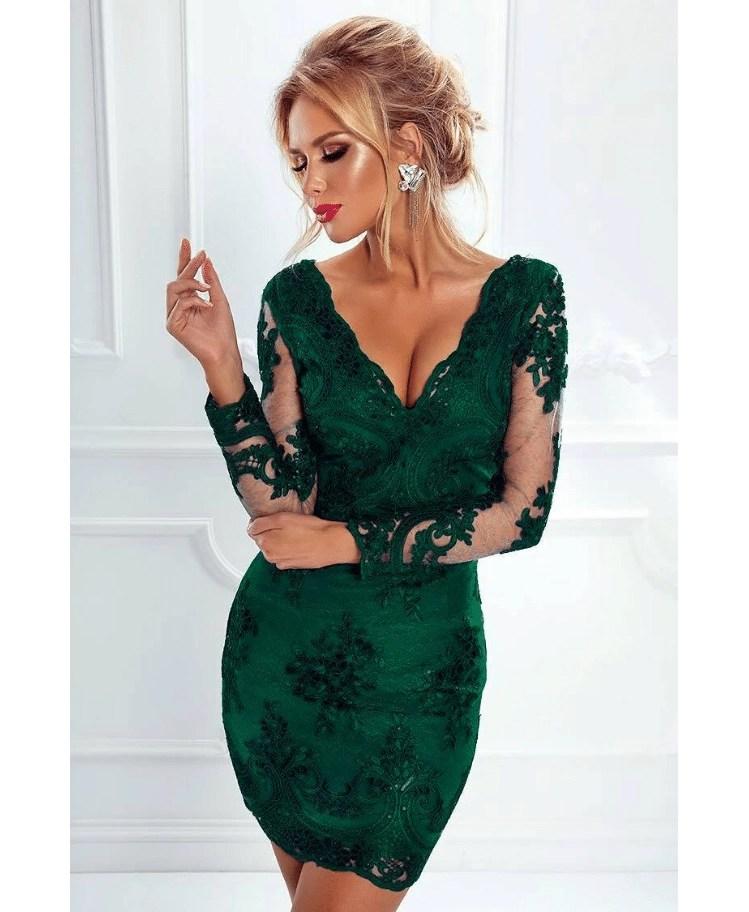 f991d00b5bb8e6 Ashanti Sukienka Zielona/ Szmaragdowa z Koronki z Długim Rękawem
