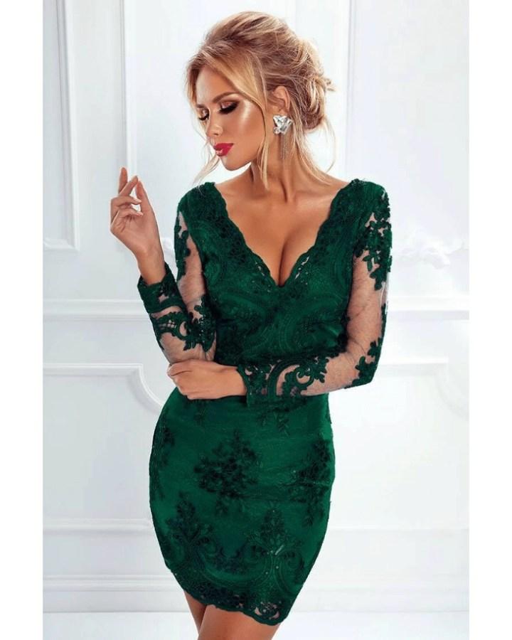 989394bd42 Ashanti Sukienka Zielona  Szmaragdowa z Koronki z Długim Rękawem