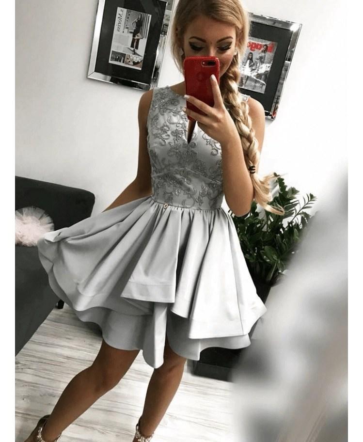 492753af5e Sansana Sukienka Koronkowa Szara Rozkloszowana Falbany Mini