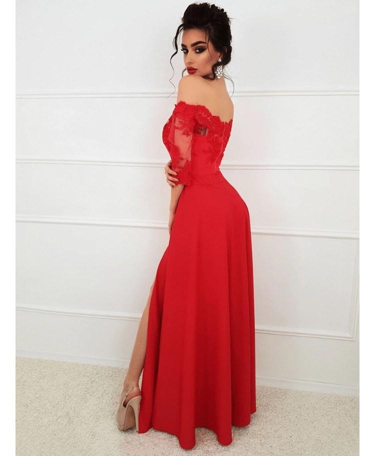 38137f50d6 Strona główna   Sukienki   Maxi   Lalus Sukienka Koronkowa Wizytowa  Czerwona Maxi z Długim Rękawem
