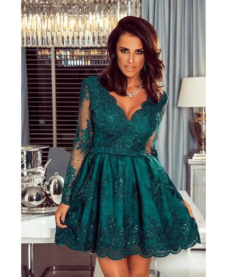 c4ac8249b5 Avril Sukienka Rozkloszowana Szmaragdowa Zielona z Koronki