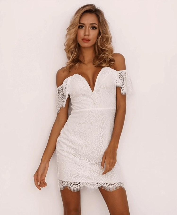 Poważnie Smilia Sukienka Biała Koronkowa Mini z Odsłoniętym Dekoltem ID68