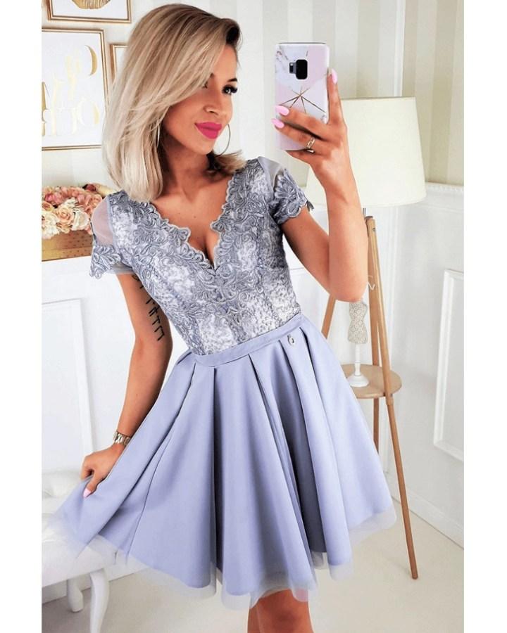 5acbbfad54 Moonick Sukienka Koronkowa Fiolet Rozkloszowana Mini