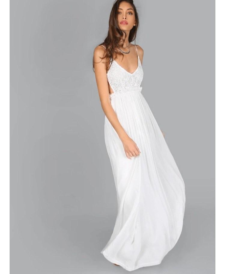 Hellen Sukienka Biała Koronkowa Długa na Ramiączkach Odsłonięte Plecy