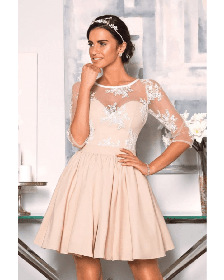 c6f496827d Oriana Sukienka Koronkowa Rozkloszowana z Rękawem Mini