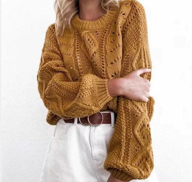 Jaki Wybrać Sweter na Jesień! Żółty Sweter Damski z Długim Rękawem