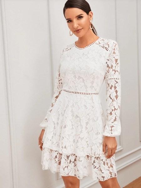Sukienka Koronkowa Biała z Długim Rękawem Przed Kolano