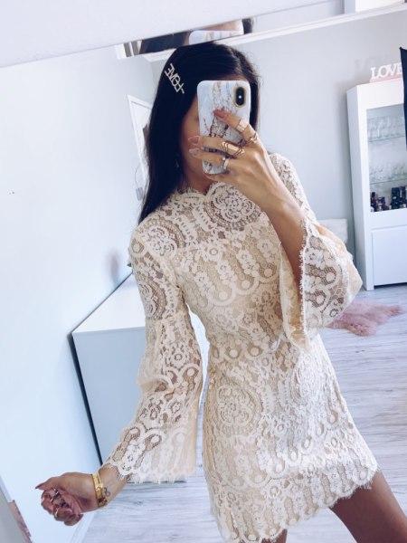 Sukienka Koronkowa Beżowa:Ecru z Długim Rękawem Mini