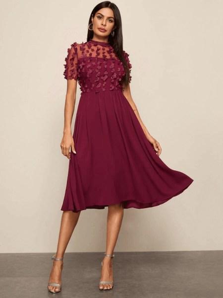 Sukienka Rozkloszowana Bordowa z Długim Rękawem Midi