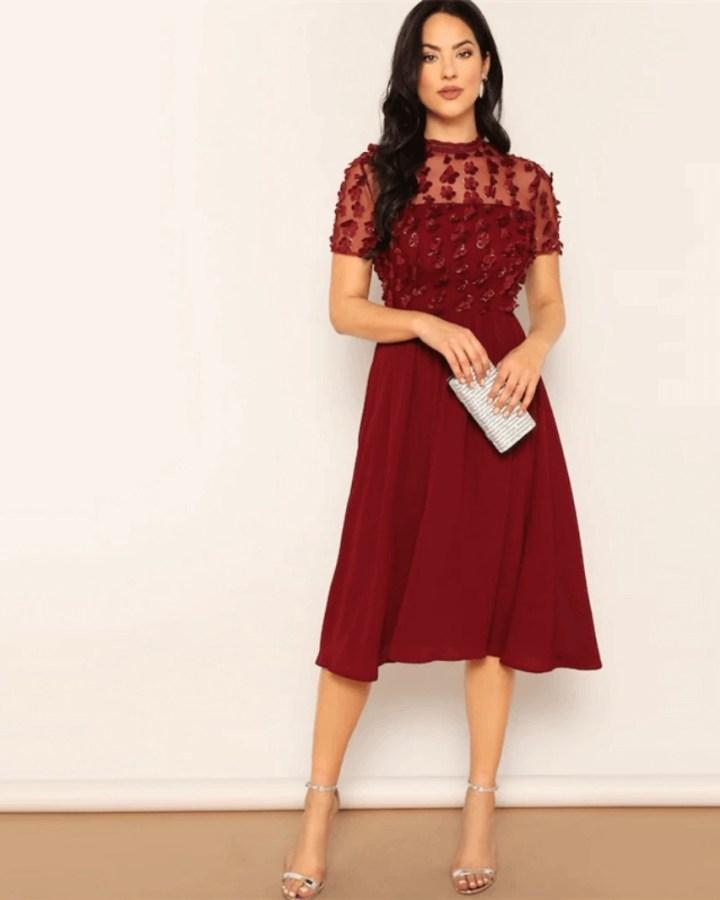 Secret Wish Boutique Sukienka Rozkloszowana Bordowa z Krótkim Rękawem Mini