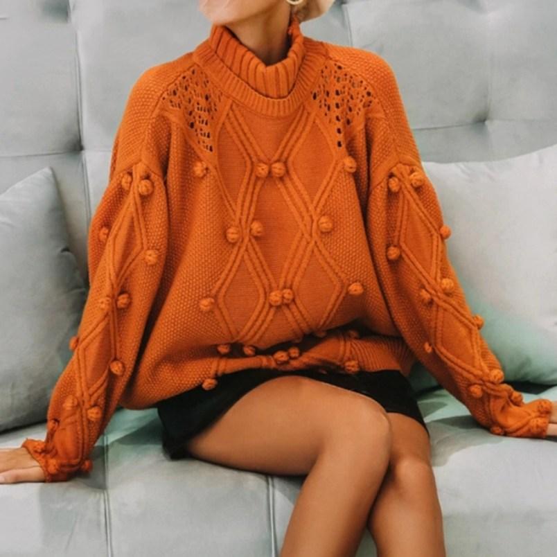 Jaki Wybrać Sweter na Jesień! Pomarańczowy Sweter Damski z Golfem