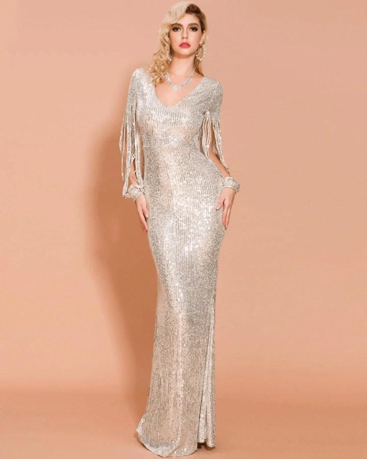 Sukienka Złota w Cekiny Długa Maxi z Długim Rękawem