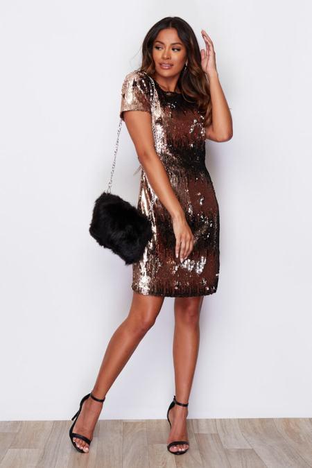 Sukienka Złota w Cekiny z Krótkim Rękawem Mini