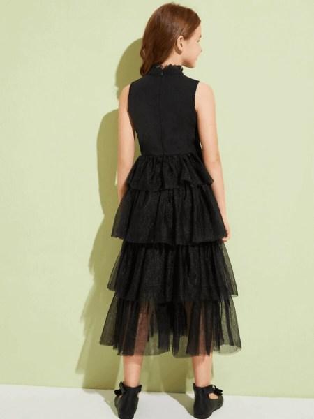 Sukienka Czarna Tiulowa Dla Dziewczynki Maxi