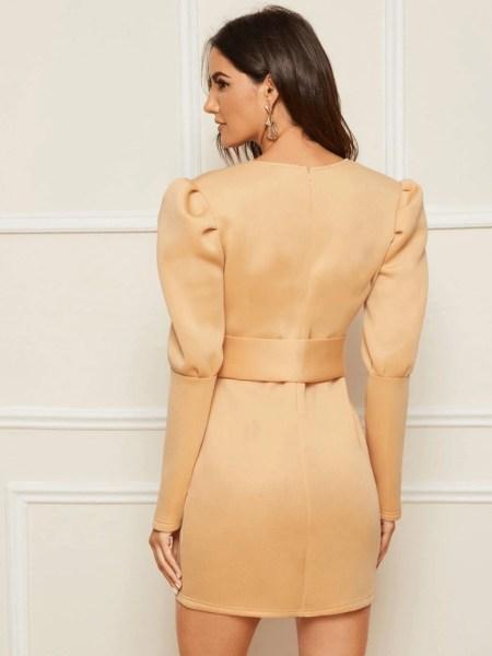 Sukienka Kremowa/Beżowa z Długim Rękawem Mini