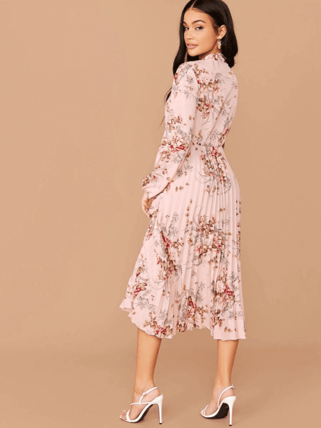 Sukienka Różowa w Kwiaty za Kolano z Długim Rękawem Midi