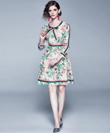 Sukienka Ecru w Kwiaty z Długim Rękawem Mini