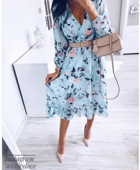 Sukienka Błękitna Kwiaty Midi