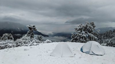 A four-season camping tent