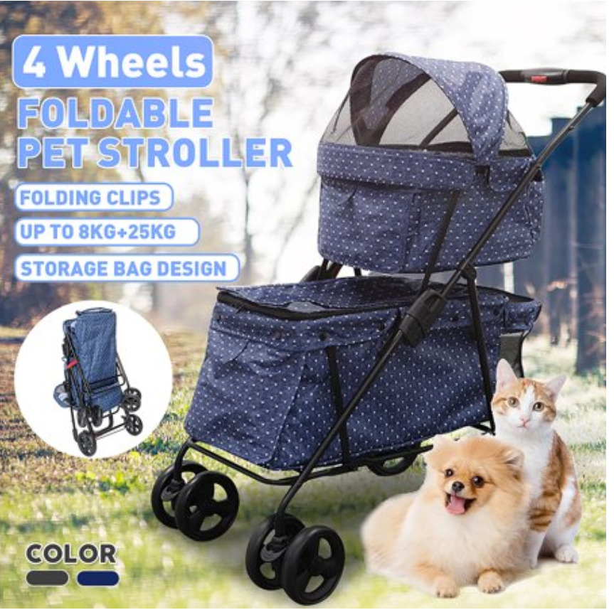 Cat Supplies: 4 wheels pet stroller