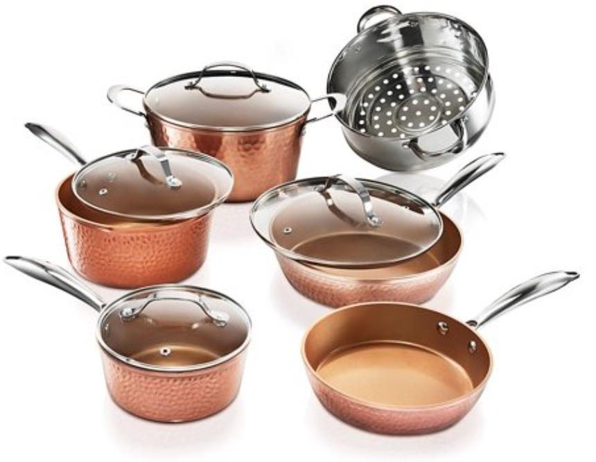 Gotham Steel Hammered Cookware Set, Ultra Non-Stick, Dishwasher Safe, Oven Safe
