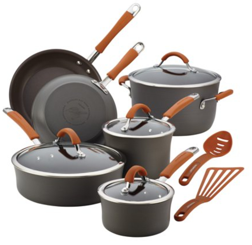 Rachael Ray 12-Piece Hard-Anodized Aluminum Nonstick Pots and Pans