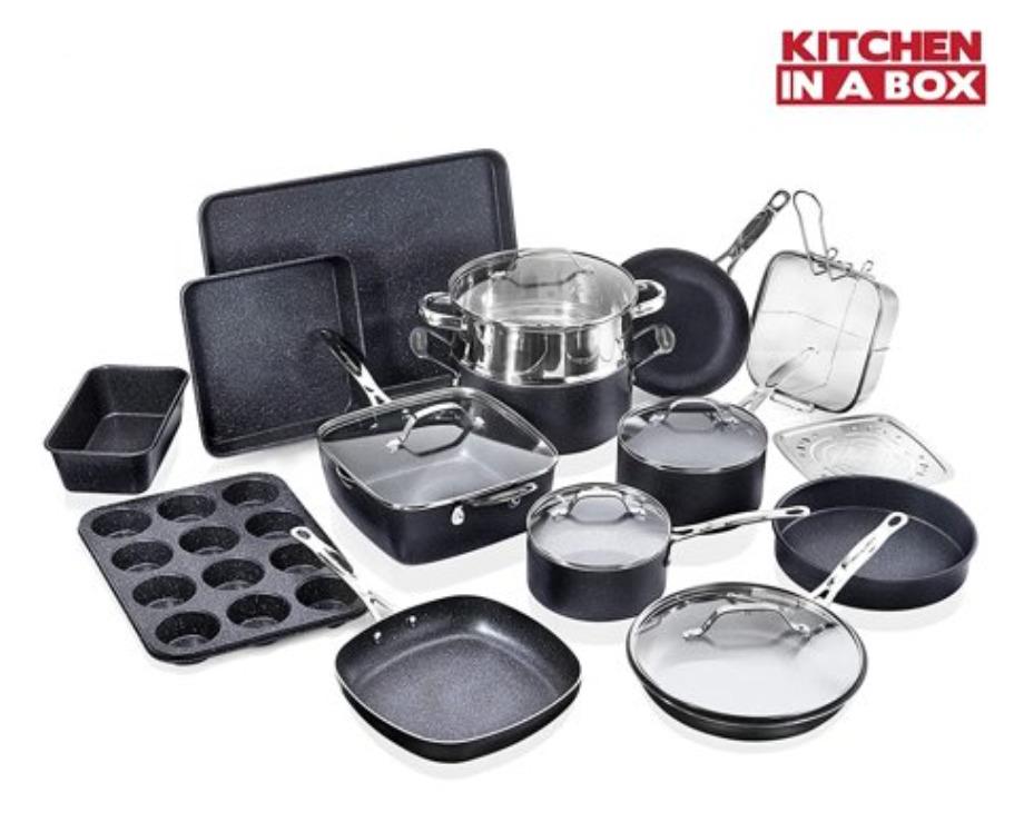 Granitestone 20 Piece Non-Stick Set, Granite Coated, PFOA Free, Oven Safe, Dishwasher Safe