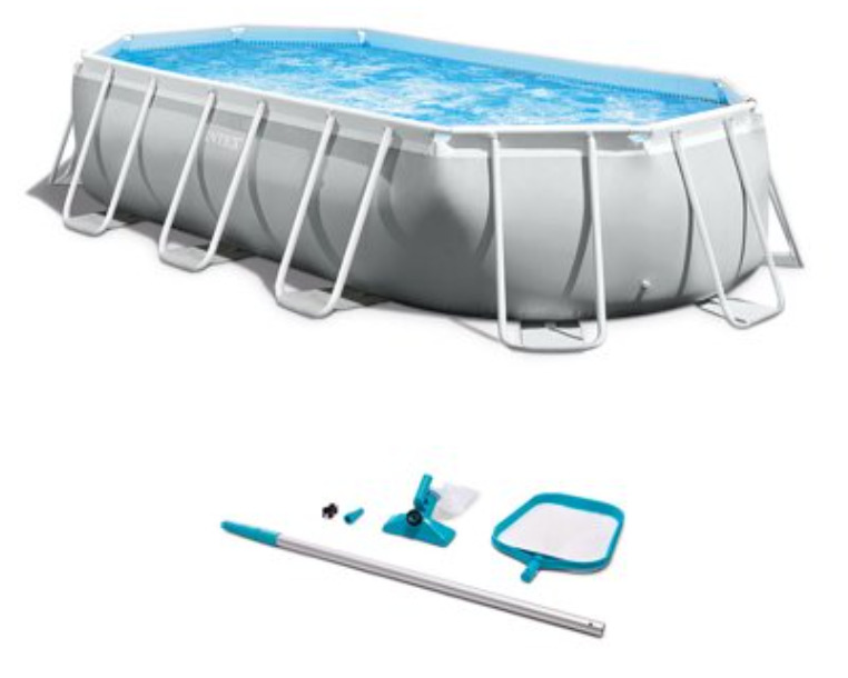 Intex 16.5ft x 9ft x 48in Rectangular Prism Pool and Cleaning Kit with Skimmer