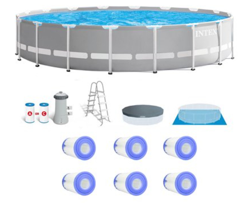 Intex Prism Frame Above Ground Pool Set w/ Type A Replacement Filters (6 Pack
