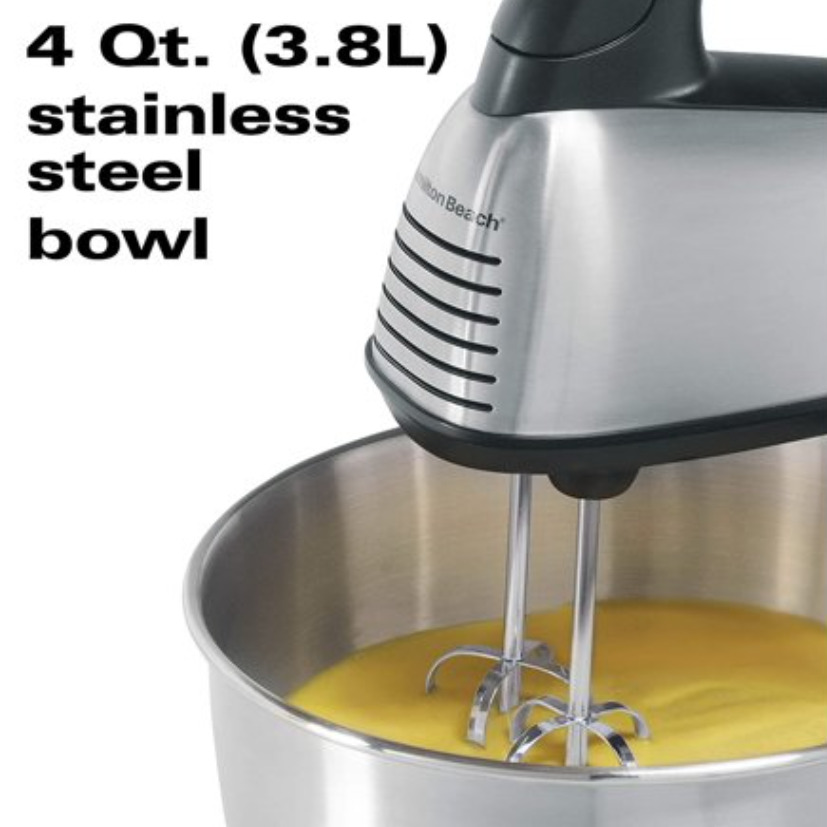 Hamilton Beach Classic Hand and Mixer, 4 Quarts, 6 Speeds with QuickBurst, 290 Watts, Bowl Rest, Black and Stainless